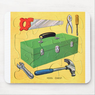 Retro Vintage Kitsch Kids Toy Puzzle Tool Kit Mouse Pad