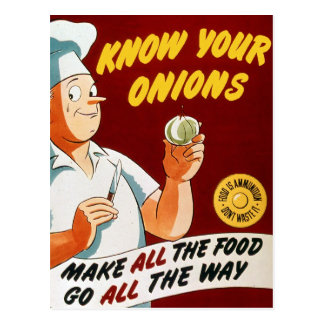 Retro Vintage Kitsch Know Your Onions War Poster Postcard