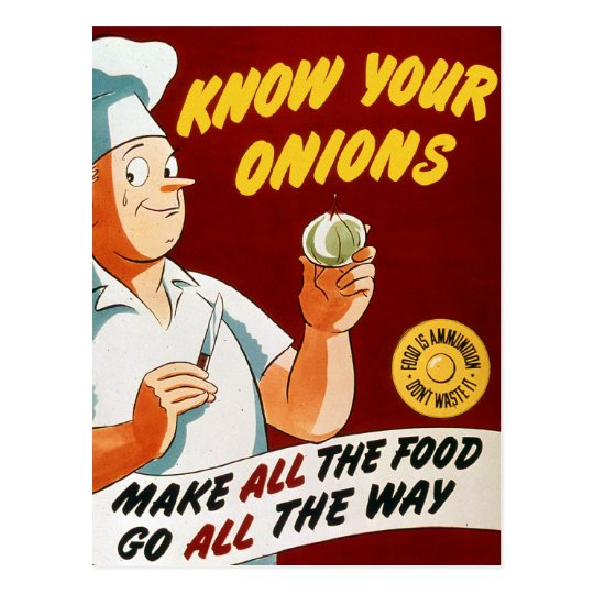 Retro Vintage Kitsch Know Your Onions War Poster