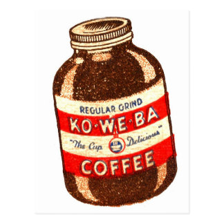 Retro Vintage Kitsch Ko-We-Ba Coffee Postcard