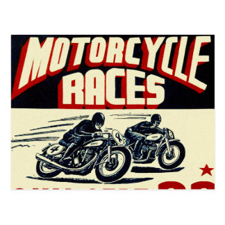 Retro Vintage Kitsch Langhorn Motorcycle Races Postcard