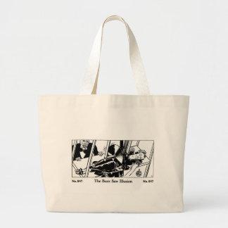 Retro Vintage Kitsch Magic Trick Buzz Saw Illusion Tote Bag