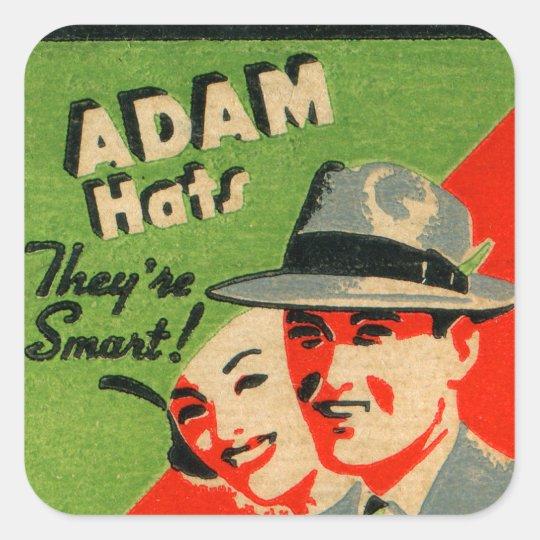 Retro Vintage Kitsch Matchbook Art Adam Hats Ad Square Sticker ... 3103283e7c4