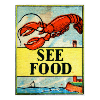 Retro Vintage Kitsch Matchbook Art See Food Postcard