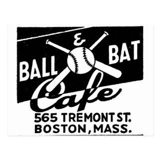 Retro Vintage Kitsch Matchbook Ball & Bat Cafe Postcard