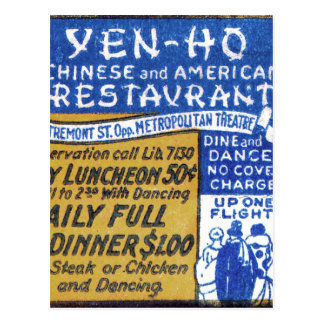 Retro Vintage Kitsch Matchbook Chinese Restaurant Postcard
