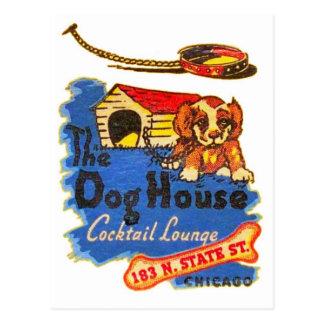 Retro Vintage Kitsch Matchbook Dog House Cocktails Postcard