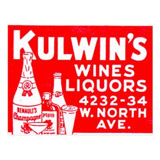 Retro Vintage Kitsch Matchbook Kulwin's Liquors Postcard