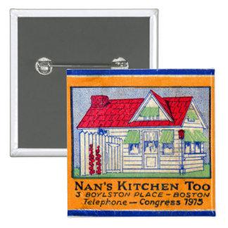 Retro Vintage Kitsch Matchbook Nan's Kitchen Diner 15 Cm Square Badge