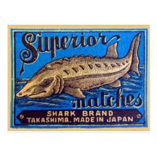 Retro Vintage Kitsch Matches Superior Shark Brand Postcard