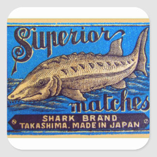 Retro Vintage Kitsch Matches Superior Shark Brand Square Sticker
