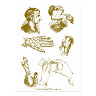 Retro Vintage Kitsch Medical Illustration Bandages Postcard