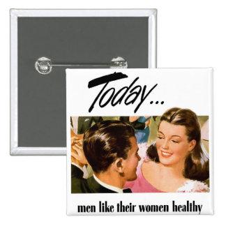 Retro Vintage Kitsch Men Like Their Women Heathly 15 Cm Square Badge