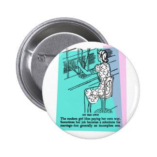 Retro Vintage Kitsch Modern Work Girl Not Complete 6 Cm Round Badge