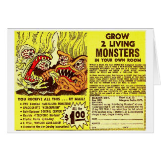 Retro Vintage Kitsch Monsters 'Grow 2 Monsters' Card
