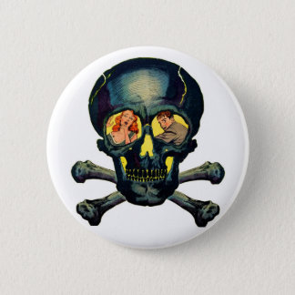 Retro Vintage Kitsch Monsters 'Skull' Comic 6 Cm Round Badge