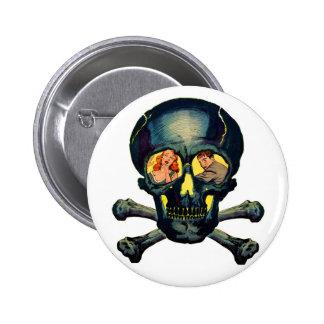Retro Vintage Kitsch Monsters 'Skull' Comic 6 Cm Round Badge