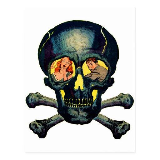 Retro Vintage Kitsch Monsters 'Skull' Comic Postcard