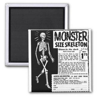 Retro Vintage Kitsch Moster Size Skeleton Ad Square Magnet