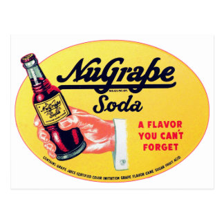 Retro Vintage Kitsch NuGrape Grape Soda Pop Sign Postcard