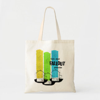 Retro Vintage Kitsch Nukes Facts About Fallout Budget Tote Bag