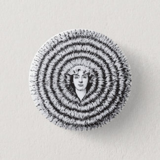 Retro Vintage Kitsch Optical Illusion Big Hair 3 Cm Round Badge