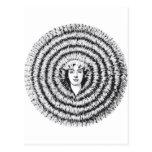Retro Vintage Kitsch Optical Illusion Big Hair Postcard
