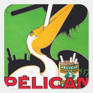 Retro Vintage Kitsch Pelican Brand Cigarettes Square Sticker