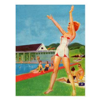 Retro Vintage Kitsch Pin Up Bathing Suit Resort Postcard