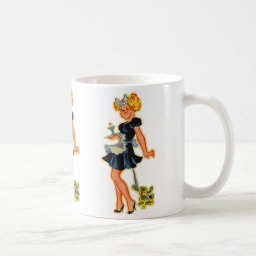 Retro Vintage Kitsch Pin Up Car Hop Girl Coffee Mugs