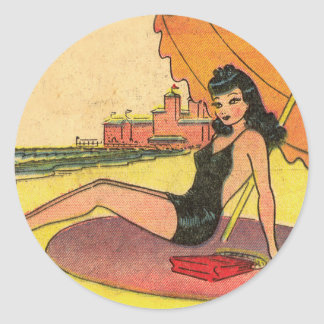 Retro Vintage Kitsch Pin Up Card Coney Island Girl Round Sticker