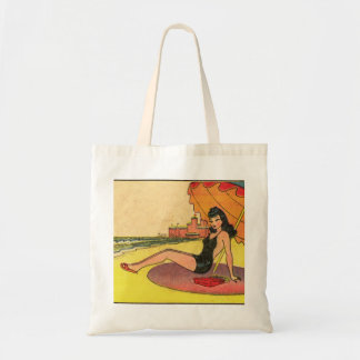 Retro Vintage Kitsch Pin Up Card Coney Island Girl Tote Bag