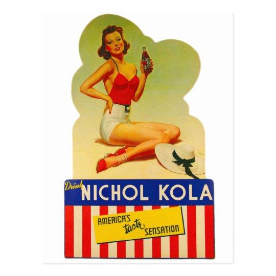 Retro Vintage Kitsch Pin Up Card Nichol Cola Soda