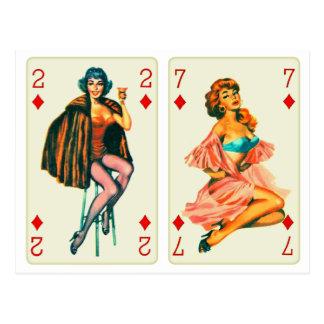 Retro Vintage Kitsch Pin Up Cards 4 Diamond Girls