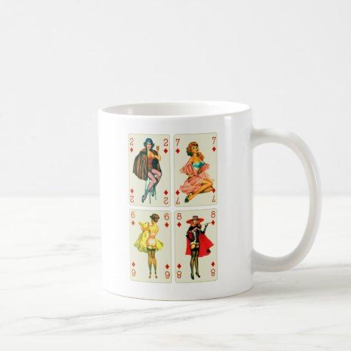 Retro Vintage Kitsch Pin Up Cards 4 Diamond Girls Coffee Mugs