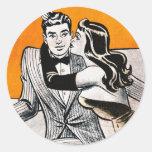 Retro Vintage Kitsch Pin Up Dating Smooch Girl Round Sticker