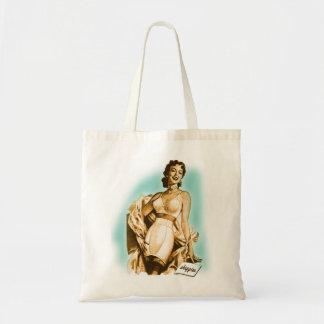 Retro Vintage Kitsch Pin Up Girl Underwear Bra Ad Budget Tote Bag