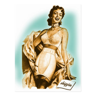 Retro Vintage Kitsch Pin Up Girl Underwear Bra Ad Postcard