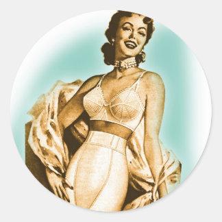 Retro Vintage Kitsch Pin Up Girl Underwear Bra Ad Round Sticker