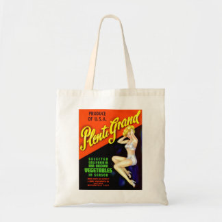 Retro Vintage Kitsch Pin Up Label Plenti Grand Budget Tote Bag