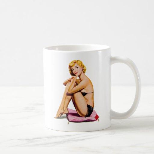Retro Vintage Kitsch Pin Up Pinup Girl Diamonds Coffee Mug