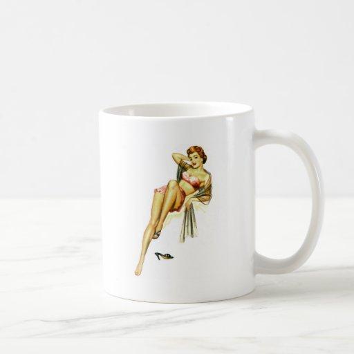 Retro Vintage Kitsch Pin Up Pinup Girl Loose Shoe Coffee Mugs