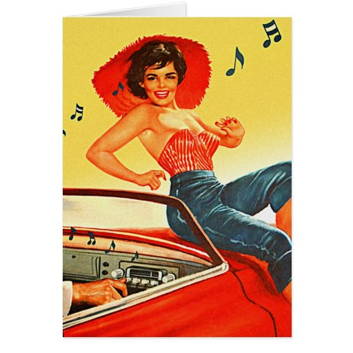'Retro Vintage Kitsch Pin Up Rock N Roll Radio Girl