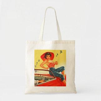 Retro Vintage Kitsch Pin Up Rock N Roll Radio Girl Budget Tote Bag