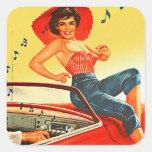 Retro Vintage Kitsch Pin Up Rock N Roll Radio Girl Square Sticker