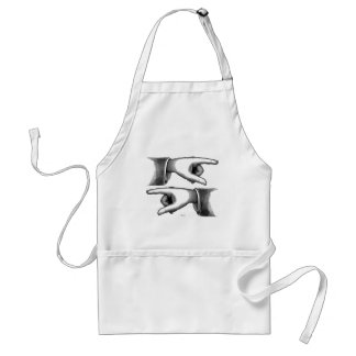 Retro Vintage Kitsch Pointing Hands Engraving Aprons