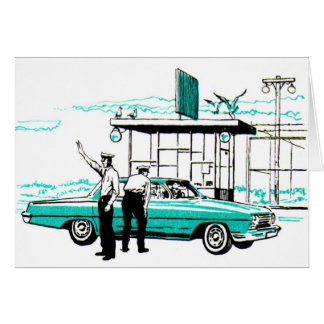 Retro Vintage Kitsch Police 50s Cops Pull Over Greeting Card