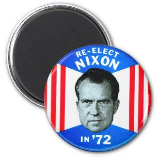 Retro Vintage Kitsch Politics Re-Elect Nixon in 72 Magnet