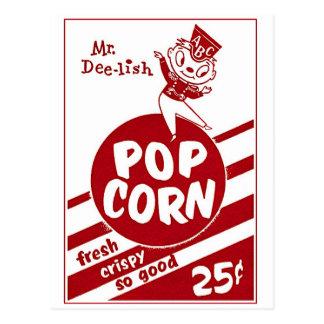 Retro Vintage Kitsch Popcorn Mr. Dee-lish Postcard