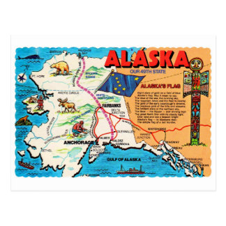 Retro Vintage Kitsch Postcard Alaska 49th State